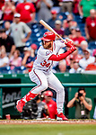 26 September 2018: Washington Nationals outfielder Bryce Harper at bat in the 4th inning against the Miami Marlins at Nationals Park in Washington, DC. The Nationals defeated the visiting Marlins 9-3, closing out Washington's 2018 home season. Mandatory Credit: Ed Wolfstein Photo *** RAW (NEF) Image File Available ***