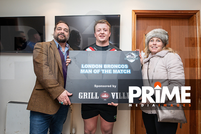 Eddie BATTYE of London Broncos receives the man of the match award after the Betfred Super League match between London Broncos and Wakefield Trinity at Castle Bar , West Ealing , England on 3 February 2019. Photo by David Horn.