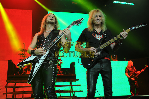 HOLLYWOOD FL - October 30 : Richie Faulkner and Glenn Tipton of Judas Priest perform at Hard Rock Live held at the Seminole Hard Rock Hotel &amp; Casino on October 30, 2014 in Hollywood, Florida. <br /> CAP/MPI/MPI04<br /> &copy;MPI04/MPI/Capital Pictures
