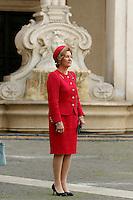 Regina Sonja<br /> Roma 06-04-2016 Palazzo Chigi. Visita dei Reali di Norvegia.<br /> Rome 6th April 2016. Arriving of the Royals of Norway.<br /> Photo Samantha Zucchi Insidefoto