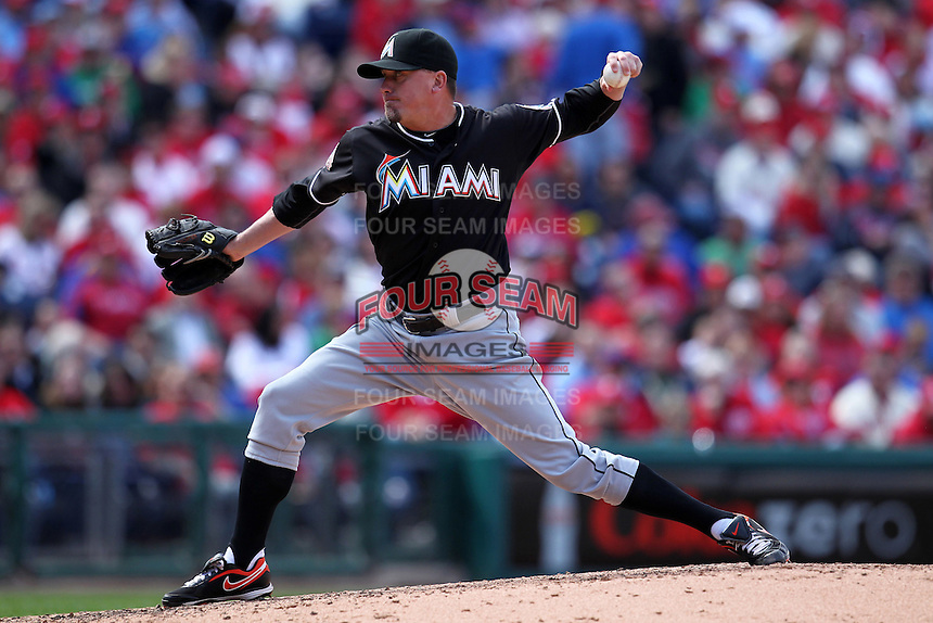 Miami Marlins pitcher Randy Choate #36 delivers a pitch during a game against the Philadelphia Phillies at Citizens Bank Park on April 9, 2012 in Philadelphia, Pennsylvania.  Miami defeated Philadelphia 6-2.  (Mike Janes/Four Seam Images)