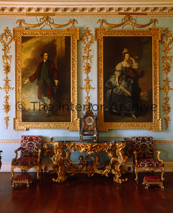 A corner of the State Drawing Room at Grimsthorpe Castle showing portraits of the 18th century 3rd Duke of Ancaster and his second wife, the former Mary Panton