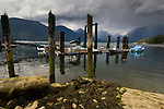 Old wooden pier pilings and jetty at Britania beach close to Squamish. North Vancouver, British Columbia, Canada.