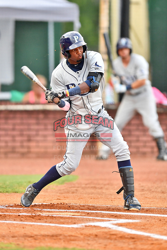 Princeton Rays designated hitter Osmy Gregorio (3) swings at a pitch during game two of the Appalachian League Championship Series against the Elizabethton Twins at Joe O'Brien Field on September 5, 2018 in Elizabethton, Tennessee. The Twins defeated the Rays 2-1 to win the Appalachian League Championship. (Tony Farlow/Four Seam Images)