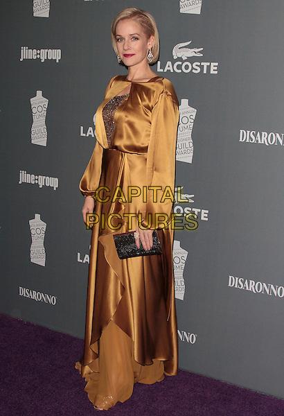 Penelope Ann Miller.The 14th Annual Costume Designers Guild Awards held at the Beverly Hilton Hotel, Beverly Hills, California, USA..February 21st, 2012 .full length black clutch bag beige gold bronze silk satin dress .CAP/ADM/SLP/JO.©JO/SLP/AdMedia/Capital Pictures