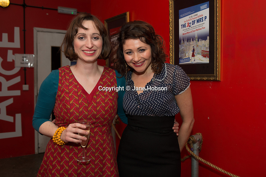 London, UK. 24.02.2014. Isy Suttie, who plays Mrs P, and Frances Ruffelle, who plays Bella Gross, in The A to Z of Mrs P, at the after party for press night.  © Jane Hobson.