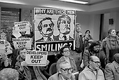 Walterton and Elgin Action Group disrupt a meeting of Westminster City Council Housing Committee during the resident-led campaign to take control of their homes and prevent sale of their estates to private developers.  London 1987