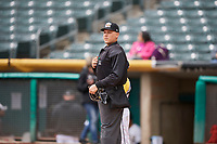 Umpire John Bostwick handles the calls behind the plate during the game between the Salt Lake Bees and the Albuquerque Isotopes at Smith's Ballpark on April 8, 2018 in Salt Lake City, Utah. Albuquerque defeated Salt Lake 11-4. (Stephen Smith/Four Seam Images)