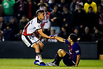 Luis Alberto Suarez Diaz of FC Barcelona (R) is helped up by Emiliano Daniel Velazquez Maldonado, E Velazquez, of Rayo Vallecano during the La Liga 2018-19 match between Rayo Vallecano and FC Barcelona at Estadio de Vallecas, on November 03 2018 in Madrid, Spain. Photo by Diego Gouto / Power Sport Images