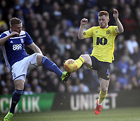 Blackburn Rovers Harrison Reed battles with  Birmingham City's Harlee Dean<br /> <br /> Photographer Mick Walker/CameraSport<br /> <br /> The EFL Sky Bet Championship - Birmingham City v Blackburn Rovers - Saturday 23rd February 2019 - St Andrew's - Birmingham<br /> <br /> World Copyright © 2019 CameraSport. All rights reserved. 43 Linden Ave. Countesthorpe. Leicester. England. LE8 5PG - Tel: +44 (0) 116 277 4147 - admin@camerasport.com - www.camerasport.com