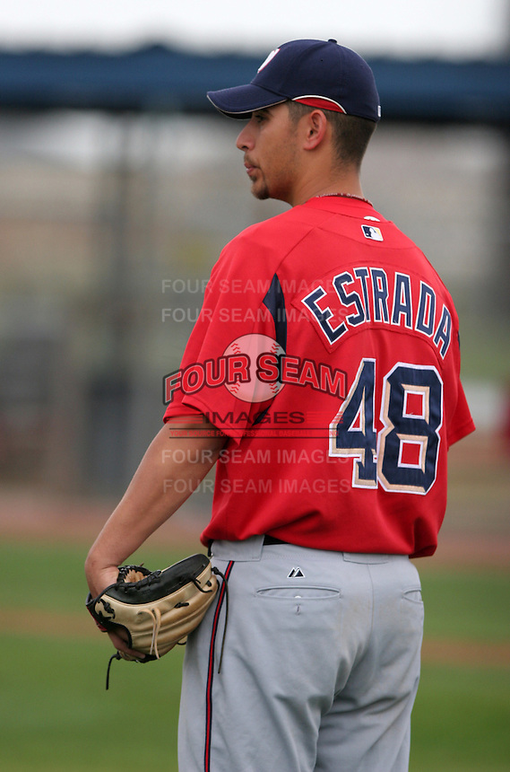 Washington Nationals minor leaguer Marco Estrada during Spring Training at the Carl Barger Training Complex on March 20, 2007 in Melbourne, Florida.  (Mike Janes/Four Seam Images)