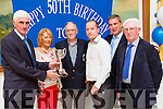 Gina Brosnan presents the club person of the year to the co-winners Donie O'Sullivan and Damian McCormick at the Killarney Athletic 50th anniversary celebrations in the Dromhall Hotel on Saturday night l-r: Donie O'sullivan, Gina Brosnan, Dan harrington, Damian McCormick, Mike O'Shea and Don O'Donoghue