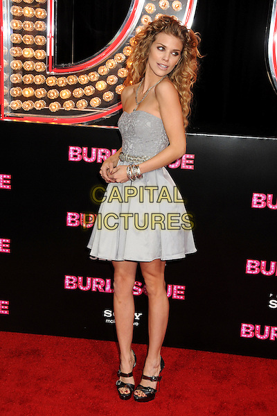"""ANNALYNNE McCORD .""""Burlesque"""" Los Angeles Premiere held at Grauman's Chinese Theatre, Hollywood, California, USA, .15th November 2010..full length dress bangles bracelets  silver grey gray black sandals platform open toe christian louboutin shoes strapless .CAP/ADM/BP.©Byron Purvis/AdMedia/Capital Pictures."""