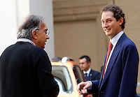 L'amministratore delegato della Fiat Sergio Marchionne ed il presidente John Elkann, a destra, durante la presentazione della nuova autovettura Jeep Renegade, a Palazzo Chigi, Roma, 25 luglio 2014.<br /> Fiat CEO Sergio Marchionne and chairman John Elkann, right, attend the presentation of the new Jeep Renegade model car, at Chigi Palace, Rome, 25 July 2014.<br /> UPDATE IMAGES PRESS/Riccardo De Luca