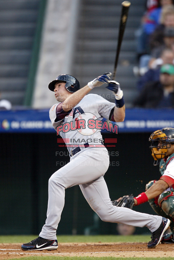 Michael Young of the USA during the World Baseball Championships at Angel Stadium in Anaheim,California on March 16, 2006. Photo by Larry Goren/Four Seam Images