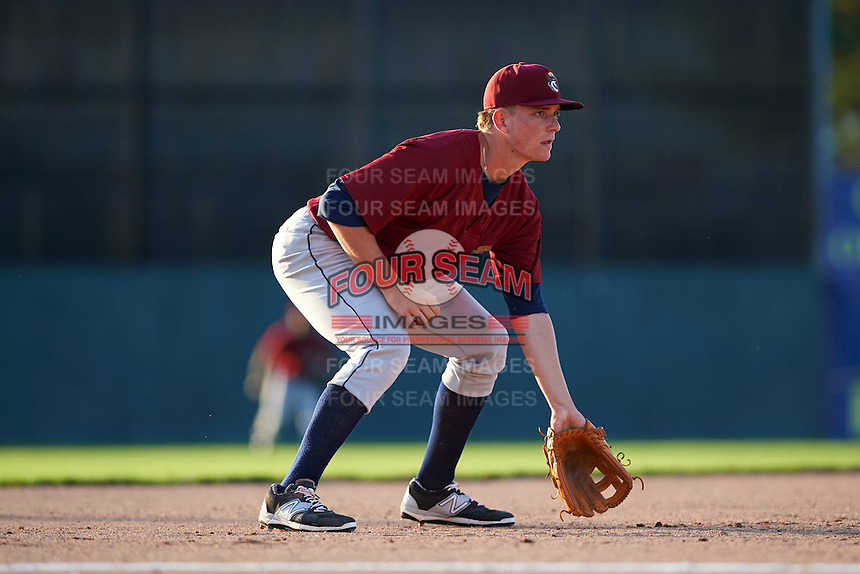 Mahoning Valley Scrappers first baseman Nathan Winfrey (17) during the second game of a doubleheader against the Batavia Muckdogs on July 2, 2015 at Dwyer Stadium in Batavia, New York.  Mahoning Valley defeated Batavia 3-0.  (Mike Janes/Four Seam Images)