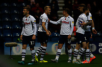 9th November 2019; Deepdale Stadium, Preston, Lancashire, England; Championship Football, Preston North End versus Huddersfield Town; Paul Gallagher of Preston North End celebrates after he scores his side's third goal from the penalty spot after 50 minutes to make the score 3-0 - Strictly Editorial Use Only. No use with unauthorized audio, video, data, fixture lists, club/league logos or 'live' services. Online in-match use limited to 120 images, no video emulation. No use in betting, games or single club/league/player publications
