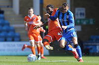 Anthony Grant of Shrewsbury tackles Gillingham's Graham Burke during Gillingham vs Shrewsbury Town, Sky Bet EFL League 1 Football at The Medway Priestfield Stadium on 13th April 2019