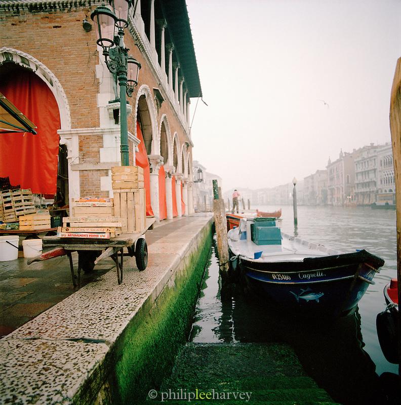 Outside the fish market at Campo della Pescheria, Venice, Italy