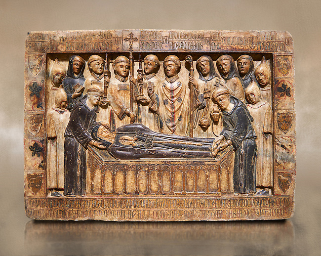 Gothic Catalan marble relief sculpture from the tomb of Margarida Cadell, died 1308, from the convent of Sant Domenee de Puigcerda, Cerdanya, Spain.  National Museum of Catalan Art, Barcelona, Spain, inv no: MNAC  4366.