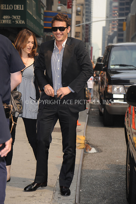 WWW.ACEPIXS.COM . . . . .....July 30, 2008. New York City.....Actor James Franco arrives for a taping of 'The Late Show with David Letterman' at the Ed Sullivan Theater on July 30, 2008 in New York City...  ....Please byline: Kristin Callahan - ACEPIXS.COM..... *** ***..Ace Pictures, Inc:  ..Philip Vaughan (646) 769 0430..e-mail: info@acepixs.com..web: http://www.acepixs.com