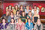 1354-1358.Night Out:Members of Cordal Football and Basketball club took time out for a relaxing evening in the RiverIsland Hotel Castleisland last Saturday,present were(seated)L-R Breda O Donoghue,Mary Noland,Eileen Brennan,Joan O Donoghue and Bernie O Sullivan(2nd row)L-r Breda Reidy,Caitrionn Dennehy,Joan Nolan,Trish healy and Kay Reidy(back)L-R Mellisa O Callighan,Liz Brosnan,Myra Hughes,Marie Walsh,Noreen Casey and Margaret O Sullivan.
