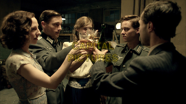 Katharina Schuttler, Volker Bruch, Miriam Stein, Tom Schilling, Ludwig Trepte<br /> in Generation War (2013)<br /> (Unsere Mutter, unsere Vater)<br /> *Filmstill - Editorial Use Only*<br /> CAP/FB<br /> Image supplied by Capital Pictures