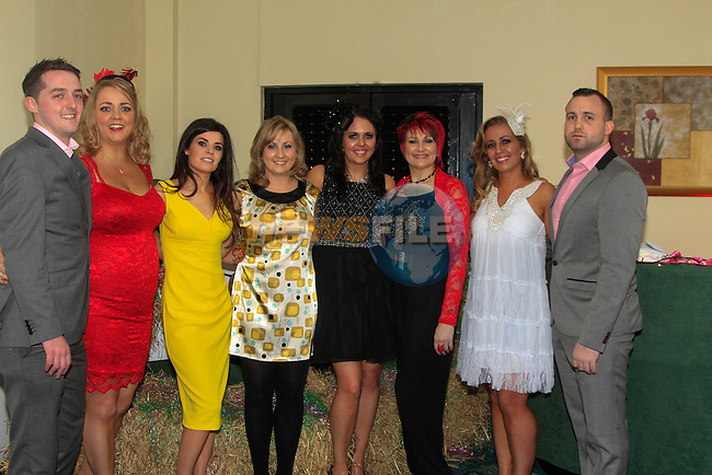 Ciaran Doyle, Fiona Corrigan, Marie Walsh, Kelly Swanson, Antonia Shelley, Lorraine Swanson, Connie Mitchell and Declan Browning during the Race night for Drogheda Hospice organised by the Louth Cancer Fundraising Group in the Boyne Valley Hotel on Saturday 22nd February 2014.<br /> Picture:  Thos Caffrey / www.newsfile.ie