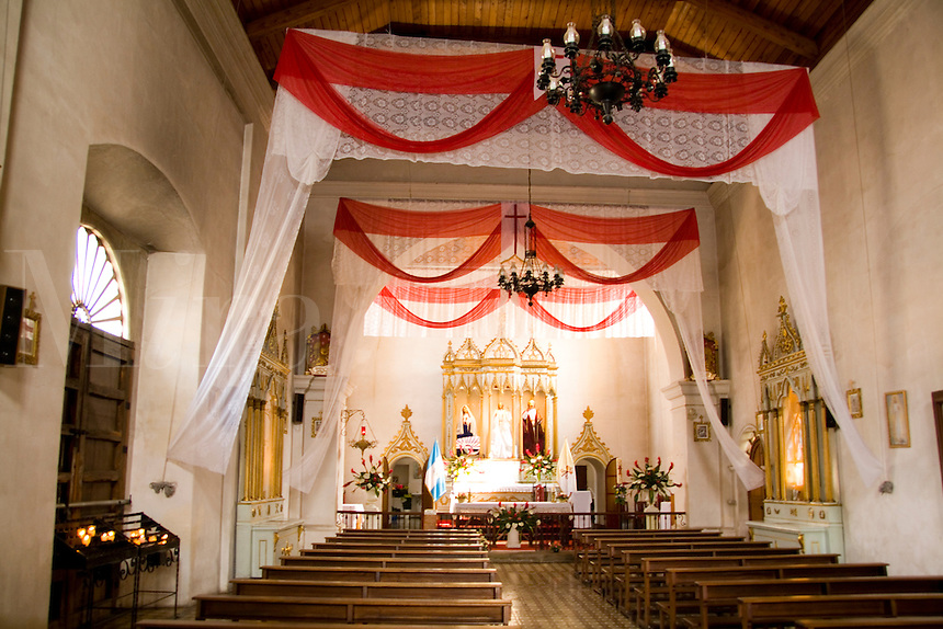 Interior beauty of church called San Pedro Apostol Cathedral in the tourism town of Antigua Guatemal