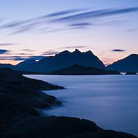 Summer twilight over mountains and sea, Stamsund, Lofoten islands, Norway