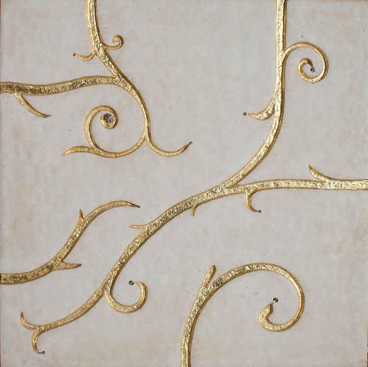 GIovanni Barbieri Flamboyant Collection Beige limestone etched finish with gold  leaf and gold Swarovski crystal
