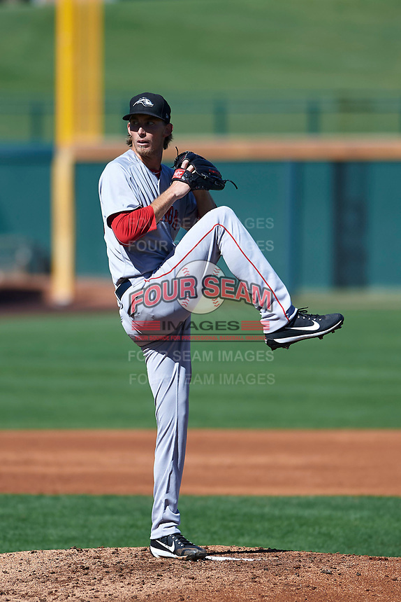 Peoria Javelinas starting pitcher Henry Owens (30), of the Boston Red Sox organization, delivers a pitch to the plate during an Arizona Fall League game against the Mesa Solar Sox on October 25, 2017 at Sloan Park in Mesa, Arizona. The Solar Sox defeated the Javelinas 6-3. (Zachary Lucy/Four Seam Images)