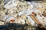 Linen tablecloths on display, Lindos, Rhodes, Greece