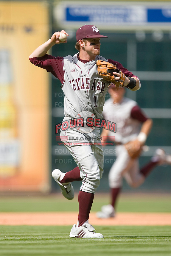 Third baseman Caleb Shofner #1 of the Texas A&M Aggies makes a throw to first base versus the UC-Irvine Anteaters in the 2009 Houston College Classic at Minute Maid Park February 27, 2009 in Houston, TX.  The Aggies defeated the Anteaters 9-2. (Photo by Brian Westerholt / Four Seam Images)