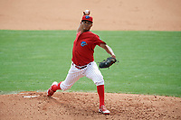 Clearwater Threshers starting pitcher Alberto Tirado (31) delivers a pitch during the first game of a doubleheader against the Lakeland Flying Tigers on June 14, 2017 at Spectrum Field in Clearwater, Florida.  Lakeland defeated Clearwater 5-1.  (Mike Janes/Four Seam Images)