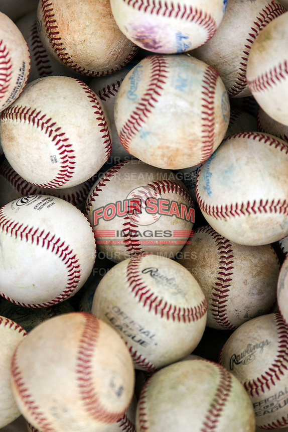 Baseballs on April 24, 2015 at Alex Box Stadium in Baton Rouge, Louisiana. LSU defeated Texas A&M 9-6. (Andrew Woolley/Four Seam Images)