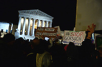 Washington, DC - January 31, 2017: A large group of people gather in front of the U.S. Supreme Court in the hours after President Trump nominated Neil Gorsuch to fill the open seat on the Court, January 31, 2017.  (Photo by Don Baxter/Media Images International)