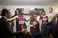 FC Barcelona Regal's President Ssandro Rosell celebrates the victory in the Spanish Basketball King's Cup Final match with Juan Carlos Navarro, Marcelinho Huertas, Joe Ingles and  CJ Wallace.February 07,2013. (ALTERPHOTOS/Acero)