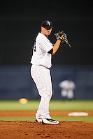Tampa Yankees starting pitcher Ian Clarkin (15) gets ready to deliver a pitch during a game against the Lakeland Flying Tigers on April 8, 2016 at George M. Steinbrenner Field in Tampa, Florida.  Tampa defeated Lakeland 7-1.  (Mike Janes/Four Seam Images)