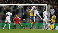 Tottenham Hotspur's Harry Kane hits the post late in the game<br /> <br /> Photographer Rob Newell/CameraSport<br /> <br /> UEFA Champions League Round of 16 Second Leg - Tottenham Hotspur v Juventus - Wednesday 7th March 2018 - Wembley Stadium - London <br />  <br /> World Copyright &copy; 2017 CameraSport. All rights reserved. 43 Linden Ave. Countesthorpe. Leicester. England. LE8 5PG - Tel: +44 (0) 116 277 4147 - admin@camerasport.com - www.camerasport.com