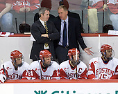 Mike Bavis (BU - Associate Head Coach) and Pertti Hasanen - The Boston University Terriers defeated the visiting University of Toronto Varsity Blues 9-3 on Saturday, October 2, 2010, at Agganis Arena in Boston, MA.