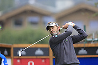 Raphael Jacquelin (FRA) tees off the 10th tee during a wet Saturday's Round 3 of the 2017 Omega European Masters held at Golf Club Crans-Sur-Sierre, Crans Montana, Switzerland. 9th September 2017.<br /> Picture: Eoin Clarke | Golffile<br /> <br /> <br /> All photos usage must carry mandatory copyright credit (&copy; Golffile | Eoin Clarke)