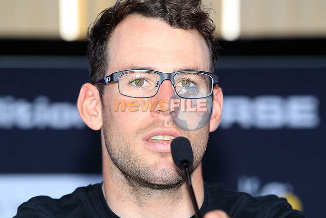 Mark Cavendish (GBR) at the Omega Pharma-Quick Step Cycling Team Press Conference held on the Ferry Mega Smeralda docked in Porto Vecchio, Corsica, France.<br /> 27th June 2013. <br /> (Photo:Eoin Clarke/www.newsfile.ie)
