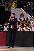9th February 2018, Wiznik Centre, Madrid, Spain; Euroleague Basketball, Real Madrid versus Olympiacos Piraeus; Giannis Sfairopoulos Coach of OLYMPIACOS BC