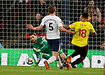 Hugo Lloris of Tottenham saves from Andre Gray of Watford during the premier league match at Wembley Stadium, London. Picture date 30th April 2018. Picture credit should read: David Klein/Sportimage