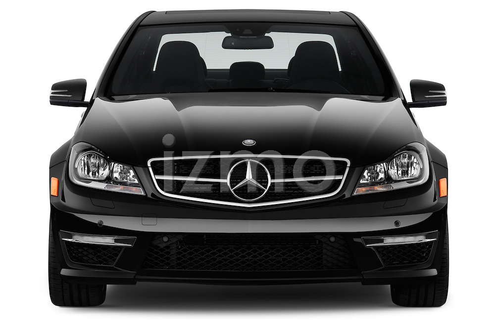 Straight front view of a 2013 Mercedes C-Class C63 AMG Sedan