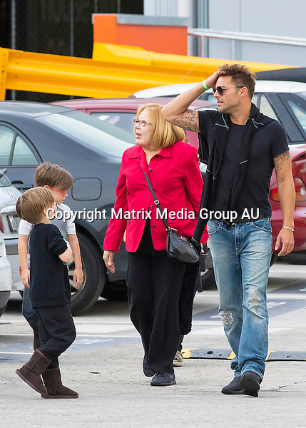 30 JULY 2015 SYDNEY AUSTRALIA<br /> <br /> EXCLUSIVE PICTURES<br /> <br /> Ricky Martin pictured with his family leaving Sky Zone after an hour of trampolining with his kids Matteo and Valentino. <br /> <br /> *No web without clearance*<br /> <br /> MUST CALL PRIOR TO USE <br /> <br /> +61 2 9211-1088. <br /> <br /> Note: All editorial images subject to the following: For editorial use only. Additional clearance required for commercial, wireless, internet or promotional use.Images may not be altered or modified. Matrix Media Group makes no representations or warranties regarding names, trademarks or logos appearing in the images.