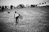 a IAM mechanic takes a shortcut around a crash on the course<br /> <br /> 114th Paris-Roubaix 2016