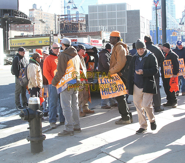 NEW YORK, NY - MARCH 2:   A members of the Laborers International Union of North America (LiUNA) and U.S presidential candidate Hillary Clinton supporters outside Hillary Clinton rally at the Jacob Davits Center in New York, New York on March 2, 2016.  <br /> CAP/MPI/RMP<br /> &copy;RMP/MPI/Capital Pictures