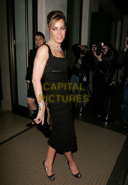 TARA PALMER TOMKINSON.Comic Relief does Fame Academy Wrap Party, Mayfair Hotel, London, UK..March 28th, 2007.full length black dress ruffles diamond bracelets necklace clutch purse .CAP/AH.©Adam Houghton/Capital Pictures